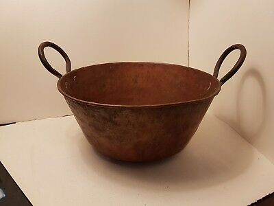 Antique Copper , Hand forged pot with Wrought Iron Handles