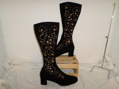 Vintage Jack Rogers USA BLACK KNEE HIGH BOOTS WITH SILVER AND GOLD STUDS 9.5M