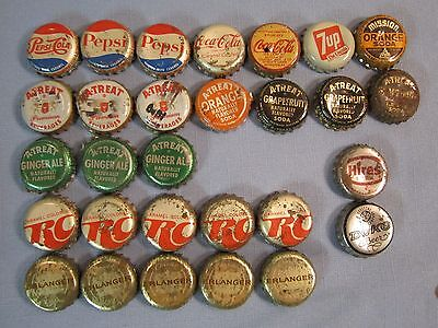 Vintage Lot of 29 Soda Beer Bottle Caps - A-Treat, Mission, Pepsi, Coke, 7Up, RC