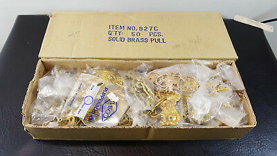 Box of 50 Vintage Brass Drawer Pulls Solid Stamped Brass Furniture Dressers