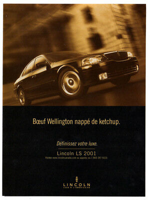 2001 LINCOLN LS Vintage Original Print AD - Black car photo french canada speed