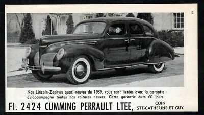 1939 LINCOLN-Zephyrs Vintage Original Print AD - Black used car photo Montreal