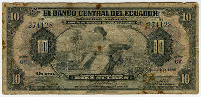 ECUADOR 1943 ISSUE 10 SUCRES BANKNOTE SCARCE.PICK#92b.