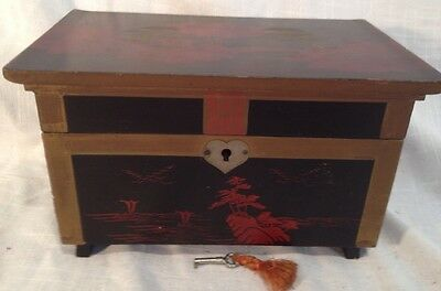 Vtg JAPANESE LACQUERED MOUNT FUJI Musical JEWELRY or TRINKET Music BOX