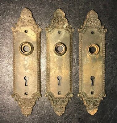 Lot of 3 Matching Antique Brass Door Knob Back Plates