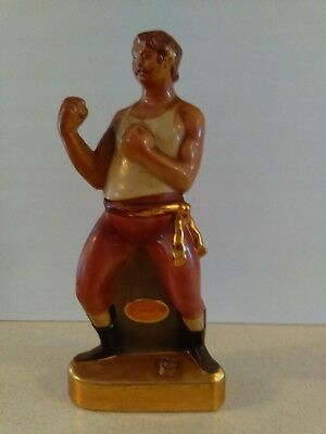 Ezra Brooks Wrestler Ceramic Whiskey Decanter 1971 24 Carat Gold Decorated