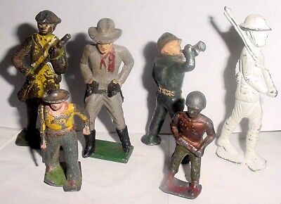 Lot Of 6 Different Vintage Collectable Iron Cast Soliders