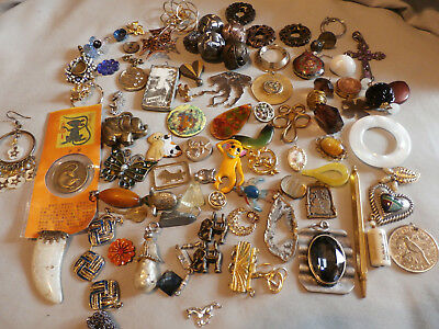 Large Lot Odd Interesting Jewelry Parts Pieces Rhinestone Copper Enamel Charms