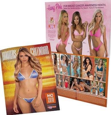 Hooters 2018 calendar with pull out poster and restaurant meal coupons