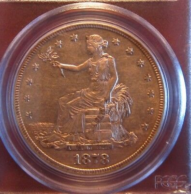 1878-S $1 Barber Trade Dollar Silver Coin! PCGS AU53! Great detail and tone!