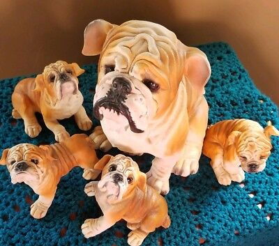 Rare English bulldog momma figurines with her four puppies