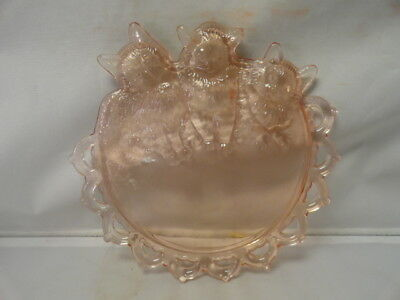 Vintage Westmoreland Pink Glass Three Little Kitten Cat Dish Lace Trim
