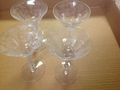 cambridge rosepoint etched crystal champaign/ wine glasses 3121 stem