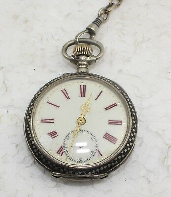 Remontoir Cylindre 10 Rubis Antique 43 mm diameter Pocket Watch with Chain