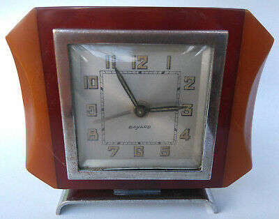 ART DECO Phenolic BAKELITE BAYARD French Clock Cherry Amber Eggyolk Vtg. Plastic
