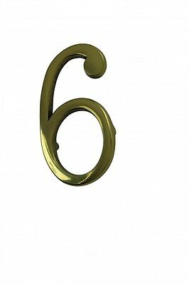 "Bright Solid Brass 3"" Address House Number '6' '9' Pin Mount 