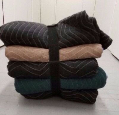 5-Pack Miscellaneous Moving Blankets / Furniture Pads w/ Strap Holder