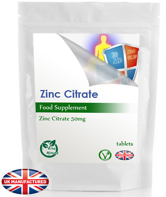 Zinc Citrate 50mg (90 Tablets Pack) Sexual Health Acne Immune Skin Hair, UK Made