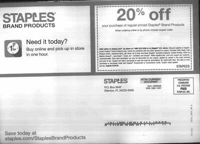Staples Coupon 20% off regular-priced Staples brand products, Exp 2/24