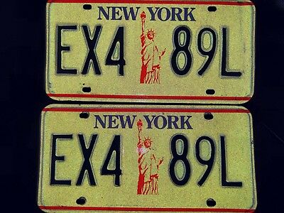 New York  License Plate Set Pair Graphic Statue Of Liberty Pair Ex4 89L