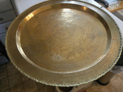 ✓✓ Vtg. Large 30 inch Round Brass Asian Table 부유 Tray or Wall Hanging ツ FREE Shp