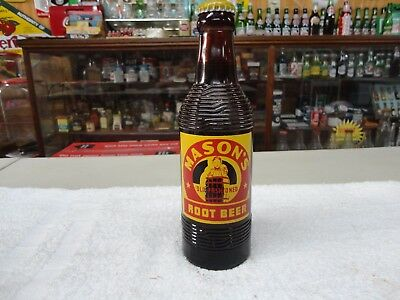 Mason's Amber Glass Root Beer Acl Label Soda Full Bottle Chicago, Illinois