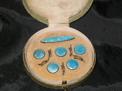 Beautiful Antique Doll Set Of Blue Pin And Buttons In Original Case