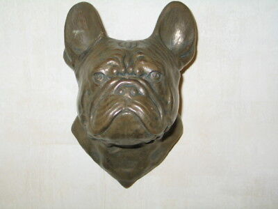 Incredible Antique Large Brass French Bulldog Wall Plaque Numbered Signed