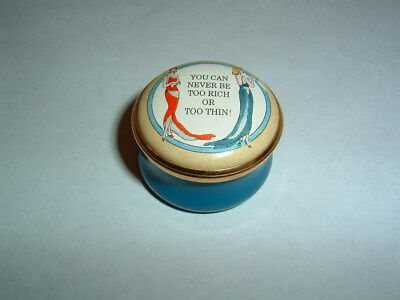 Stunning Halcyon Days England You Can Never Be Too Rich or Too Thin Enamel Box