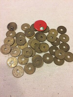 Antique Chinese Brass Majong  Mah Jong Tokens