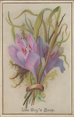 Embossed Victorian Trade Card-Day's Soap-Day & Frick-Philadelphia, PA-Pink Lily