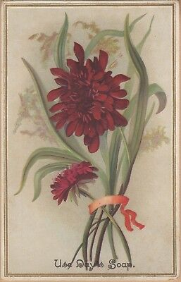 Embossed Victorian Trade Card-Day's Soap-Day & Frick-Philadelphia, PA-Red Flower