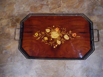 Vintage Lrg.marquetry Inlaid Wood Tray Wth.brass Flowered,italy