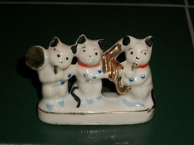 Vintage 1930s Made in Japan China Porcelain Miniature Three Cat Band Figurine