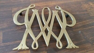 WILLIAMSBURG WILLIAM AND MARY BRASS TRIVET By Virginia Metal Crafters 1950
