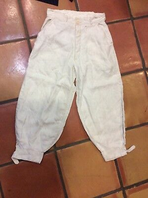 "Vintage 1930's White Linen Knickers Golf Pants 26"" waist"