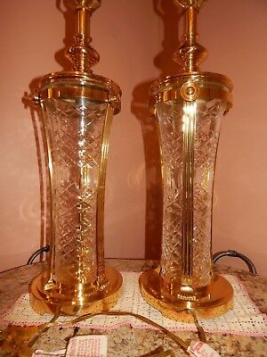 """Pair Cut Crystal Lamps Large 33"""" Table Light~Gorgeous and classy!~"""