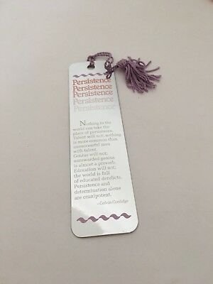 Vintage Bookmark Motivational Calvin Coolidge Persistence Reflections 1991