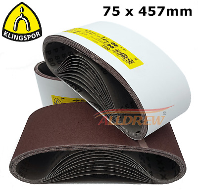 75 x 457mm KLINGSPOR Sanding Belts 3'' x 18'' Belt Sanders MAKITA / BOSCH etc.