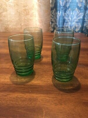 4 Emerald Green Tumblers Juice Glasses Libbey weighted bottom Classic Pretty EC