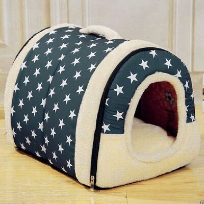 Soft Warm Star Pattern 2 in 1 Pet Nest Non-slip Dog Cat Bed Foldable Winter Soft