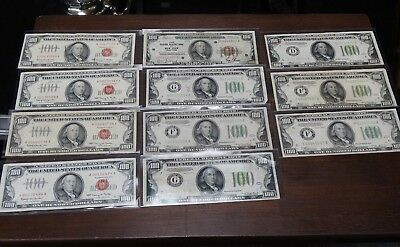 (Lot Of 11) Mixed Years U.s. $100 Small Bank Notes