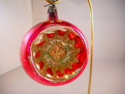Indent Recess Vintage Mercury Glass Christmas Ornament Pink Flowers Reflector