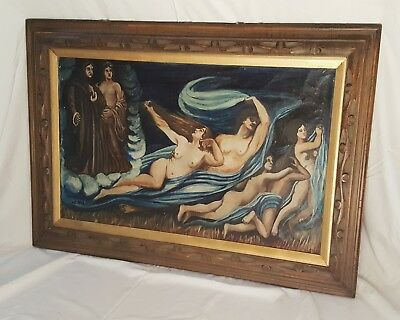 Large Antique Signed Oil Painting Carved Wood Frame Nude Renaissance Style