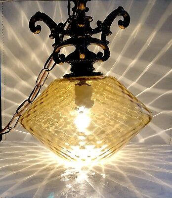 Vintage Hollywood Regency Swag Light-Hanging Light-Hand Blown Amber Glass-Chain