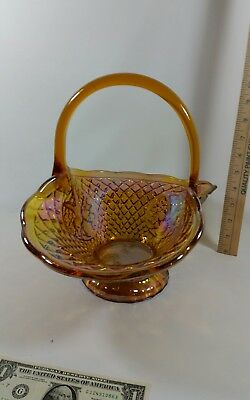 "Vintage Carnival Glass Rainbow Glass Picnic Fruit Basket 10"" Tall"