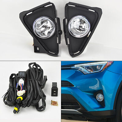 Toyota RAV4 2016-2017 Chrome Trim Black Bezel Fog Lights Kit w/ Switch Pair