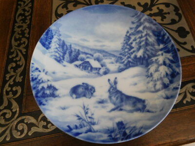 "7 3/4"" Blue & white porcelain Rabbit motif plate made in Germany by Furstenberg"