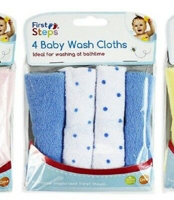 Brand New Pack of 4  Soft Baby Face Wash Cloths Towel Flannel Machine 0 Months+