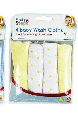 New Pack of 4 Soft Yellow Baby Face Wash Cloths Towel Flannel Machine 0 Months+